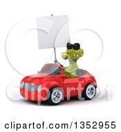 Clipart Of A 3d Crocodile Wearing Sunglasses Holding A Blank Sign And Driving A Red Convertible Car On A White Background Royalty Free Vector Illustration by Julos