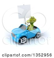 Clipart Of A 3d Crocodile Holding A Blank Sign And Driving A Blue Convertible Car On A White Background Royalty Free Vector Illustration by Julos