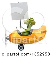 Clipart Of A 3d Crocodile Aviatior Pilot Holding A Blank Sign And Flying A Yellow Airplane On A White Background Royalty Free Vector Illustration by Julos