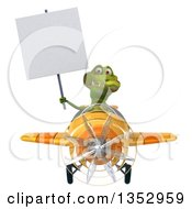 Clipart Of A 3d Crocodile Aviatior Pilot Holding A Blank Sign And Flying A Yellow Airplane On A White Background Royalty Free Vector Illustration
