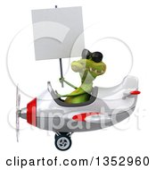 Clipart Of A 3d Crocodile Aviatior Pilot Wearing Sunglasses Holding A Blank Sign And Flying A White And Red Airplane On A White Background Royalty Free Vector Illustration