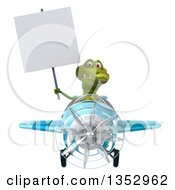 Clipart Of A 3d Crocodile Aviatior Pilot Holding A Blank Sign And Flying A Blue Airplane On A White Background Royalty Free Vector Illustration