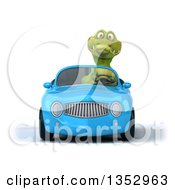 Clipart Of A 3d Crocodile Driving A Blue Convertible Car On A White Background Royalty Free Vector Illustration