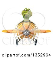 Clipart Of A 3d Crocodile Aviatior Pilot Flying A Yellow Airplane On A White Background Royalty Free Vector Illustration by Julos