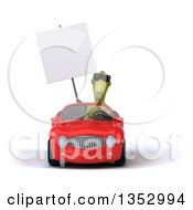 Clipart Of A 3d Green Dinosaur Wearing Sunglasses Holding A Blank Sign And Driving A Red Convertible Car On A White Background Royalty Free Vector Illustration
