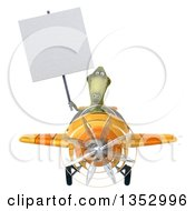 Clipart Of A 3d Green Dinosaur Aviatior Pilot Holding A Blank Sign And Flying A Yellow Airplane On A White Background Royalty Free Vector Illustration