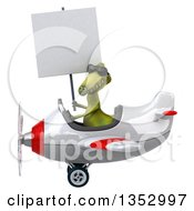 Clipart Of A 3d Green Dinosaur Aviatior Pilot Wearing Sunglasses Holding A Blank Sign And Flying A White And Red Airplane On A White Background Royalty Free Vector Illustration