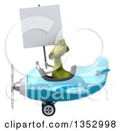 Clipart Of A 3d Green Dinosaur Aviatior Pilot Holding A Blank Sign And Flying A Blue Airplane On A White Background Royalty Free Vector Illustration