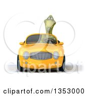 Clipart Of A 3d Green Dinosaur Driving A Yellow Convertible Car On A White Background Royalty Free Vector Illustration