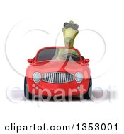 Clipart Of A 3d Green Dinosaur Wearing Sunglasses And Driving A Red Convertible Car On A White Background Royalty Free Vector Illustration