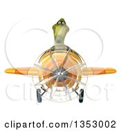 Clipart Of A 3d Green Dinosaur Aviatior Pilot Flying A Yellow Airplane On A White Background Royalty Free Vector Illustration by Julos