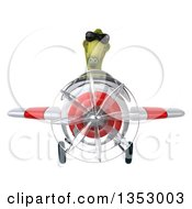 Clipart Of A 3d Green Dinosaur Aviatior Pilot Wearing Sunglasses And Flying A White And Red Airplane On A White Background Royalty Free Vector Illustration