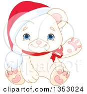 Clipart Of A Cute Baby Polar Bear Cub Wearing A Christmas Santa Hat And Presenting Or Waving Royalty Free Vector Illustration