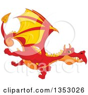 Clipart Of A Cartoon Flying Red Orange And Yellow Dragon Royalty Free Vector Illustration
