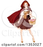 Clipart Of A Woman Red Riding Hood Carrying A Basket Royalty Free Vector Illustration by Pushkin