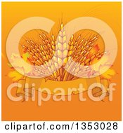 Background Of Wheat With Autumn Leaves Over A Blank Ribbon Banner On Orange