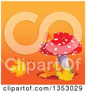 Clipart Of A Fly Agaric Mushroom With Autumn Leaves Over Gradient Royalty Free Vector Illustration by Pushkin