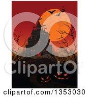 Creepy Haunted Halloween Castle With An Orange Sky Full Moon Mountains Jackolantern Pumpkins Bare Trees And Flying Bats