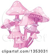 Clipart Of A Patch Of Pink Magic Mushrooms Royalty Free Vector Illustration by Pushkin