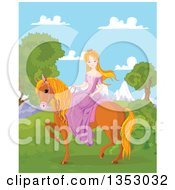 Red Haired Princess Riding A Brown Horse Against Mountains