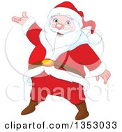 Clipart Of A Cartoon Jolly Christmas Santa Claus Presenting Royalty Free Vector Illustration by Pushkin