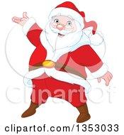 Cartoon Jolly Christmas Santa Claus Presenting