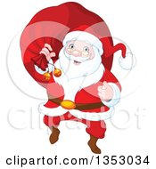 Clipart Of A Cartoon Jolly Christmas Santa Claus Carrying A Sack Royalty Free Vector Illustration by Pushkin