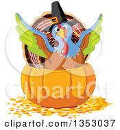 Clipart Of A Cute Thanksgiving Turkey Bird Pilgrim Flapping His Wings In A Pumpkin Royalty Free Vector Illustration