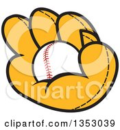 Clipart Of A Cartoon Baseball In A Glove Royalty Free Vector Illustration by Johnny Sajem