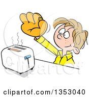 Poster, Art Print Of Cartoon Dirty Blond White Boy Wearing A Baseball Glove To Catch Toast From A Toaster
