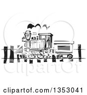 Black And White Woodcut Train On A Rail Road