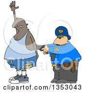 Clipart Of A Cartoon Police Officer Arresting A Man As He Accidental Poops His Pants Royalty Free Vector Illustration