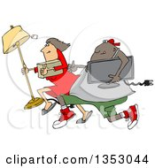 Clipart Of A Cartoon Chubby Black Juvenile Deliquent Man And White Woman Looting And Running With Stolen Items Royalty Free Vector Illustration