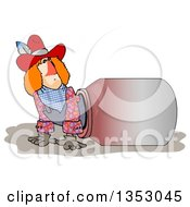 Clipart Of A Rodeo Clown Climbing Out Of A Barrel Royalty Free Illustration by djart