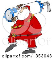 Clipart Of A Cartoon Christmas Santa Carrying A Water Heater Royalty Free Vector Illustration by Dennis Cox