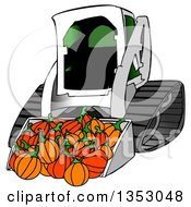 Clipart Of A Bobcat Skid Steer Loader With Halloween Pumpkins In The Bucket Royalty Free Illustration by djart
