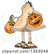 Clipart Of A Cartoon Caveman Holding Halloween Jackolantern Pumpkins Royalty Free Vector Illustration by Dennis Cox