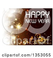 Clipart Of A Happy New Year Greeting Over A Sparkle Background With Ribbons And Confetti Royalty Free Vector Illustration by dero