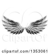 Clipart Of A Black And White Engraved Woodcut Feathered Wings Royalty Free Vector Illustration
