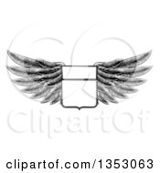 Clipart Of A Black And White Engraved Woodcut Winged Shield Insignia Royalty Free Vector Illustration