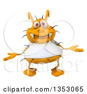 Clipart Of A 3d Yellow Germ Wearing A White Tee Shirt And Shrugging On A White Background Royalty Free Vector Illustration