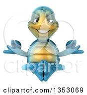 3d Blue Tortoise Meditating On A White Background