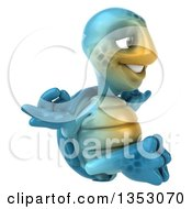 Clipart Of A 3d Blue Tortoise Meditating On A White Background Royalty Free Vector Illustration