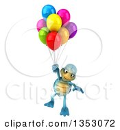 3d Blue Tortoise Floating With Party Balloons On A White Background