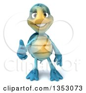 Clipart Of A 3d Blue Tortoise Giving A Thumb Up On A White Background Royalty Free Vector Illustration