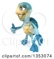 3d Blue Tortoise Giving A Thumb Up On A White Background
