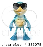 3d Blue Tortoise Wearing Sunglasses On A White Background