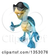 3d Blue Tortoise Wearing Sunglasses And Giving A Thumb Up On A White Background