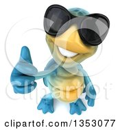 3d Blue Tortoise Wearing Sunglasses And Holding Up A Thumb On A White Background