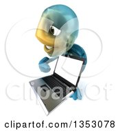3d Blue Tortoise Holding And Pointing To A Laptop Computer On A White Background
